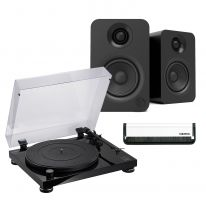 Audio Technica AT-LPW50PB + Kanto YU (Black) Bundle